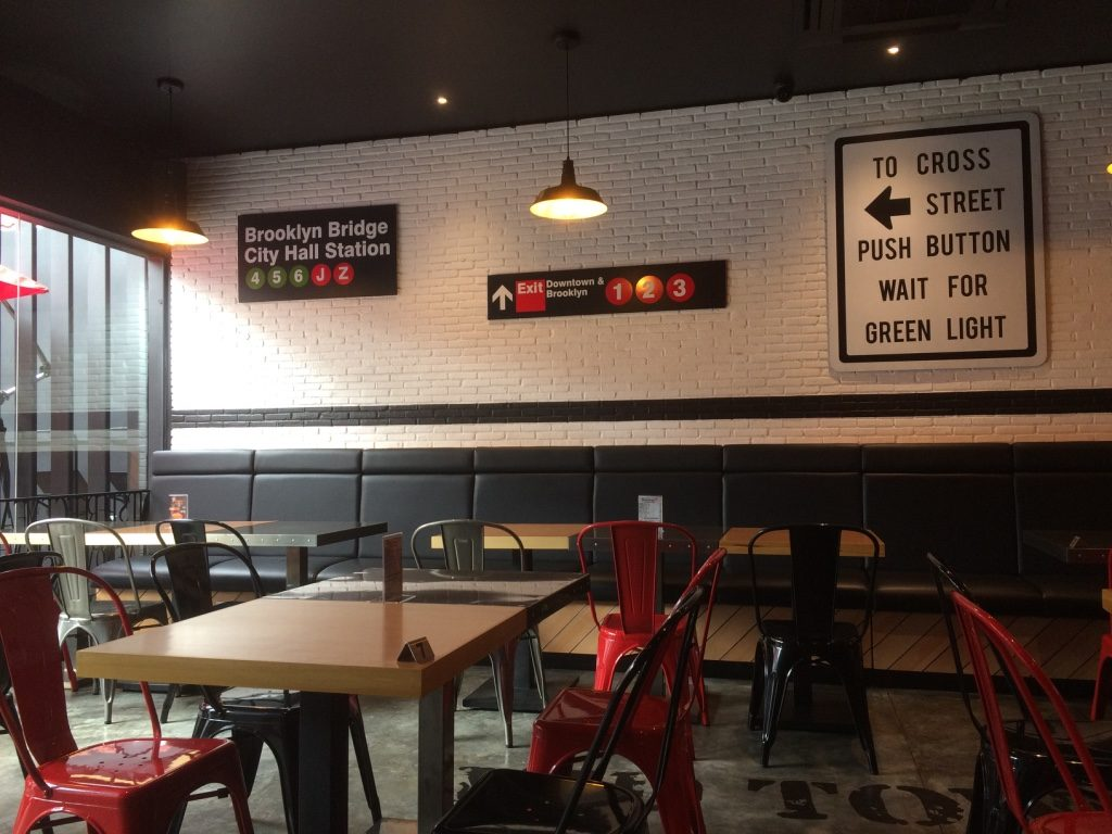 Bon Chon inside was very NY with their decor