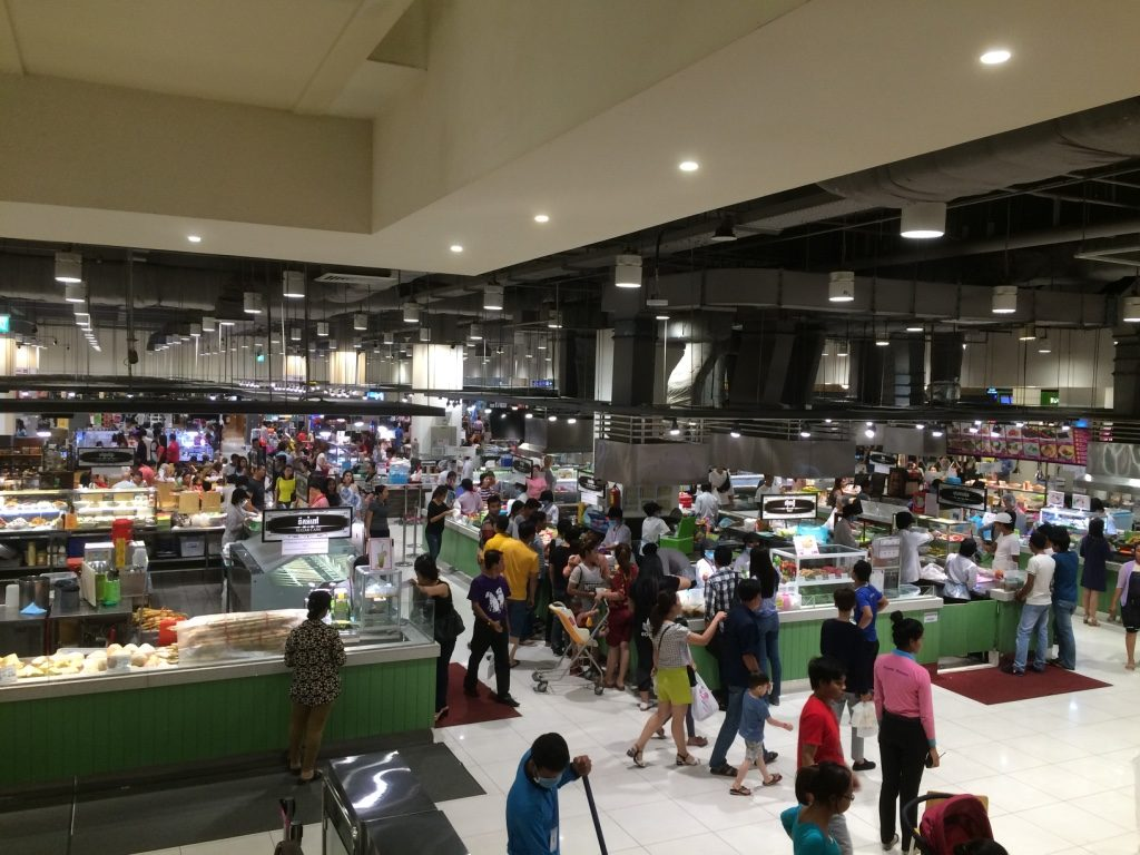 Aeon's supermarket and food court on the ground floor