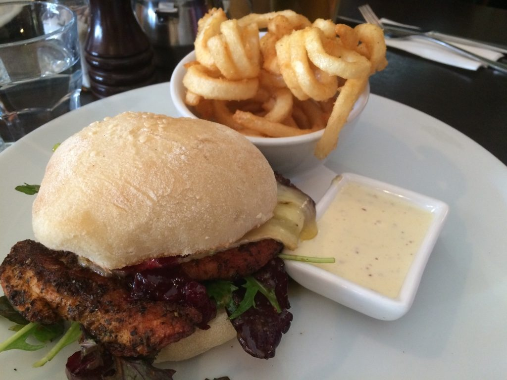Cajun chicken sandwich with brie and avocado. ($19 NZD)