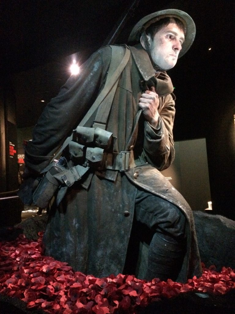 Throughout the ANZAC Gallipoli exhibit they would have these 4 x life size statues that had stories playing in the background.