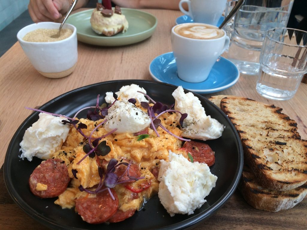My favourite. Chorizo and burrata with perfectly scrambled eggs and a side of sourdough ($18 AUD)