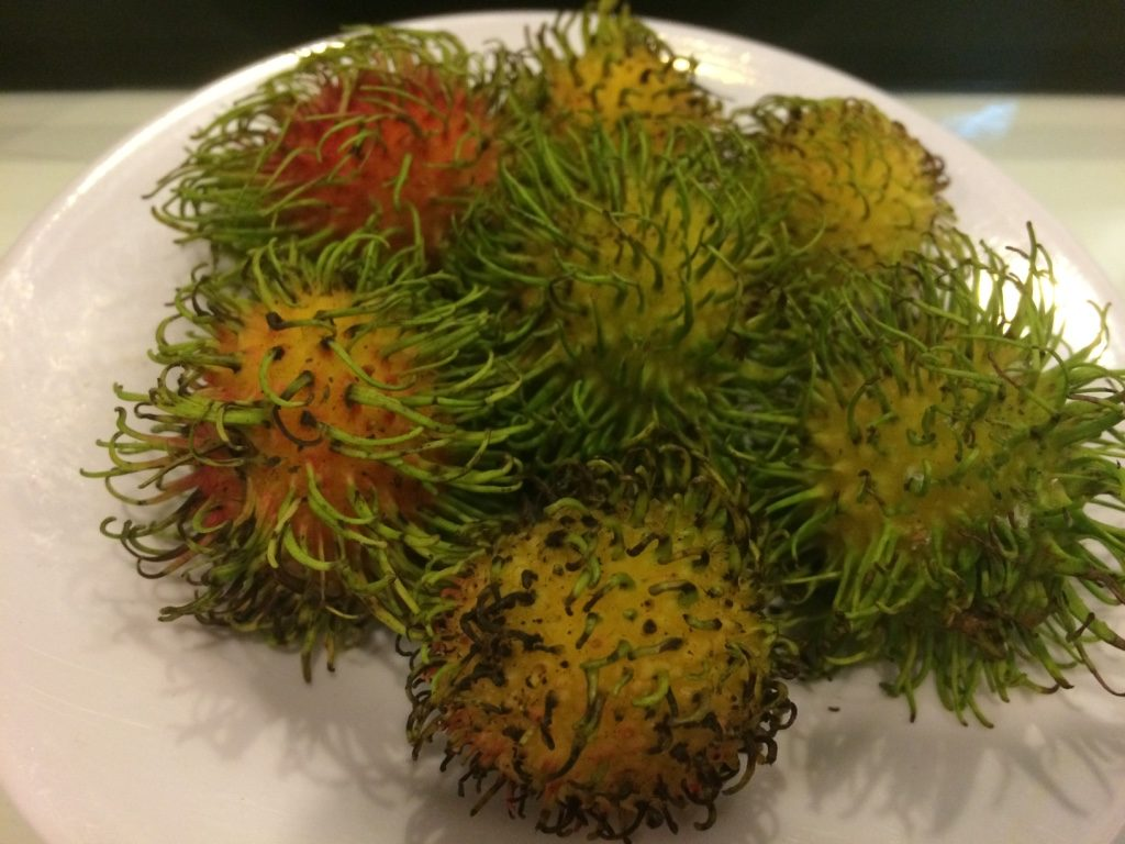 Rambutans from the hotel as our welcome fruit in our room. Tastes like longans.