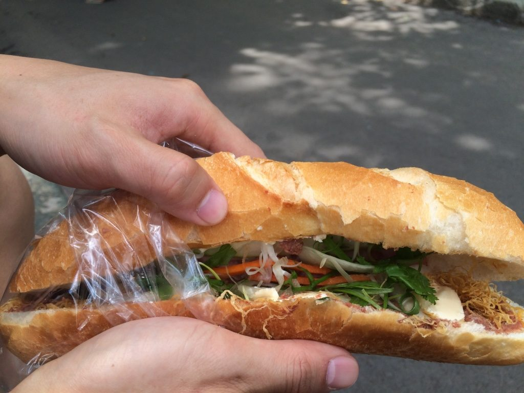 This is the other type of banh mi with the laughing cow cheese. 25,000 VND = $1.40 CAD