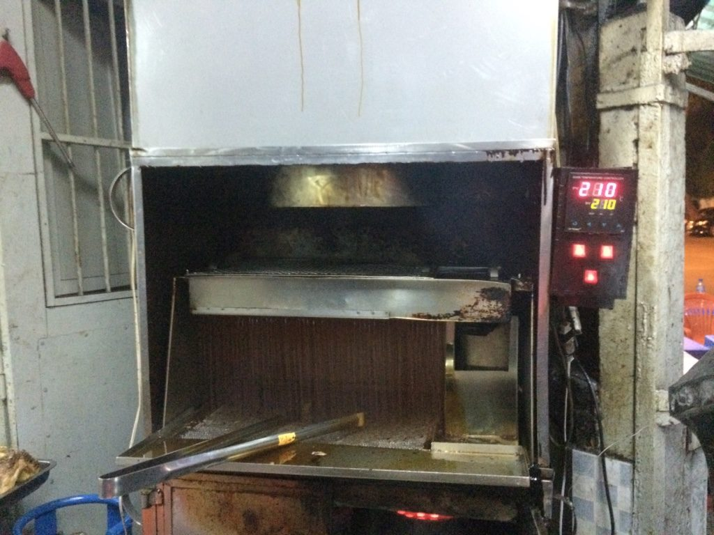 Waterfall of hot oil
