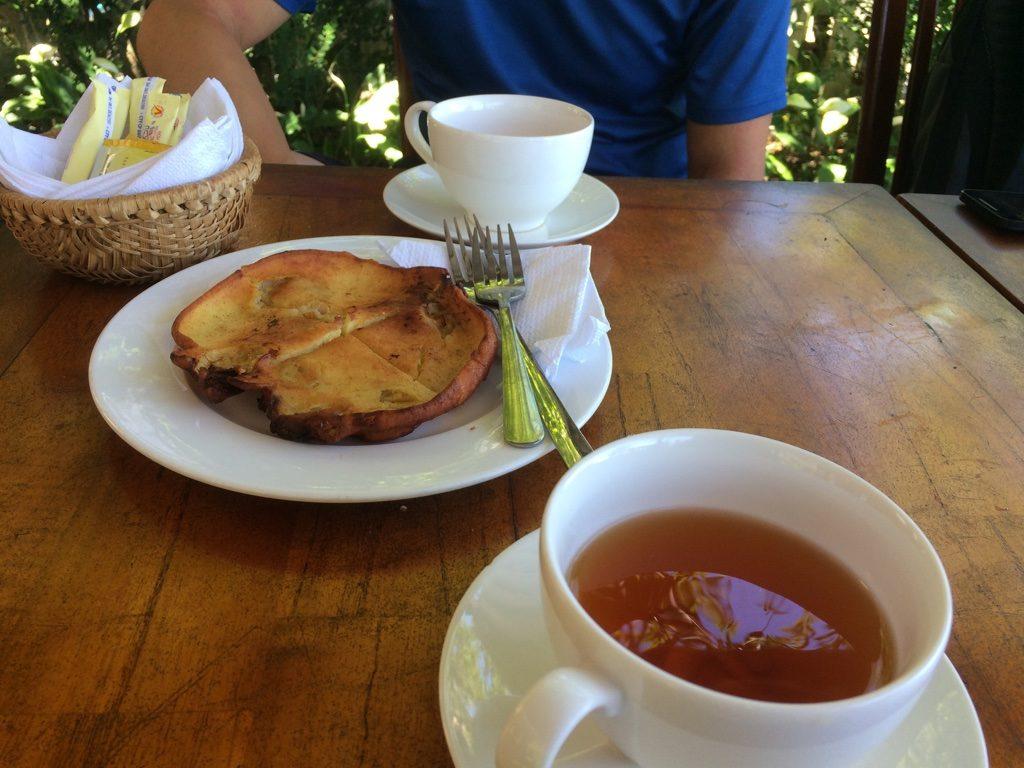Banana pancake and cold tea
