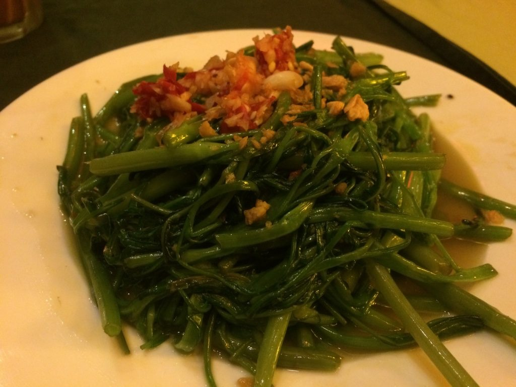 "Morning Glory (""ong choy"" or water spinach) - 68,000 VND = $3.95 CAD. Came with a large plate of white rice."