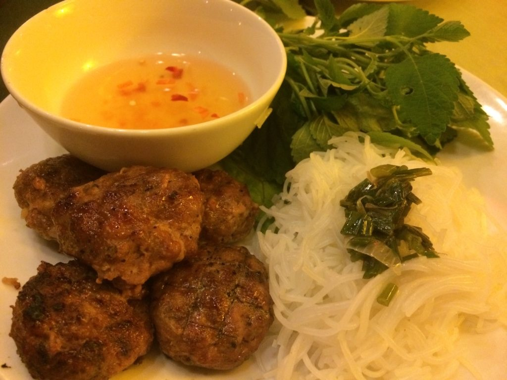Bun cha (pork meat balls with vermicelli, and fresh herbs with fish sauce) - 115,000 VND = $6.80 CAD