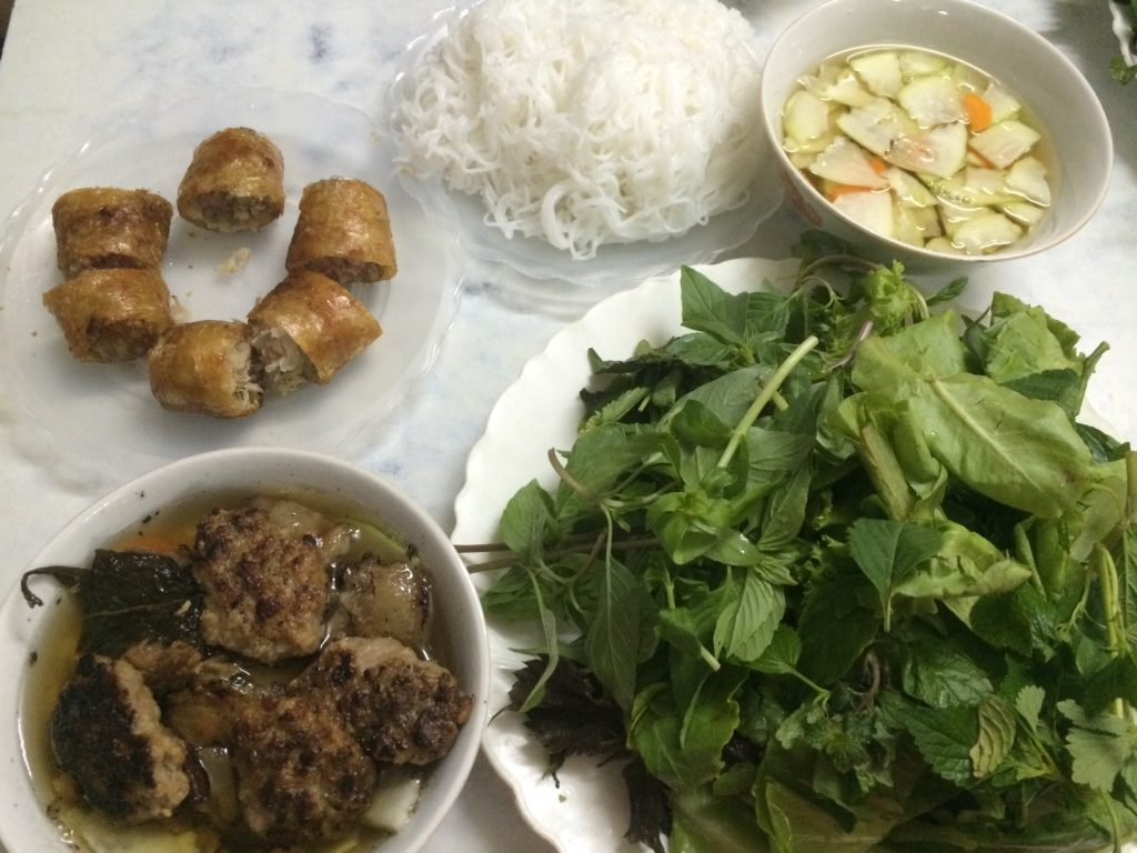 One order of bun cha and spring rolls (90,000 VND = $5.20 CAD)
