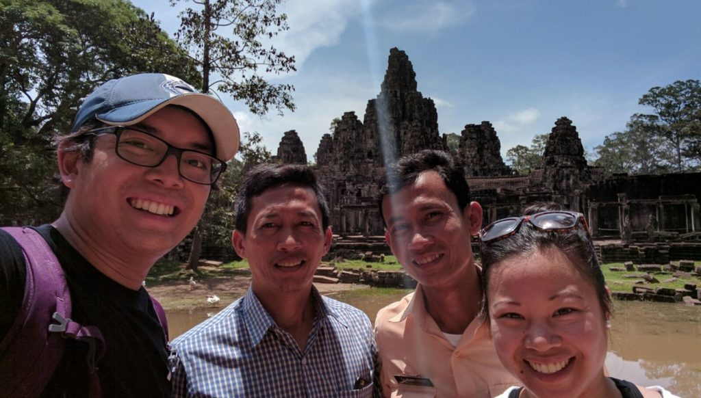 Our selfie with Mr. Hua and Dara outside of Bayon