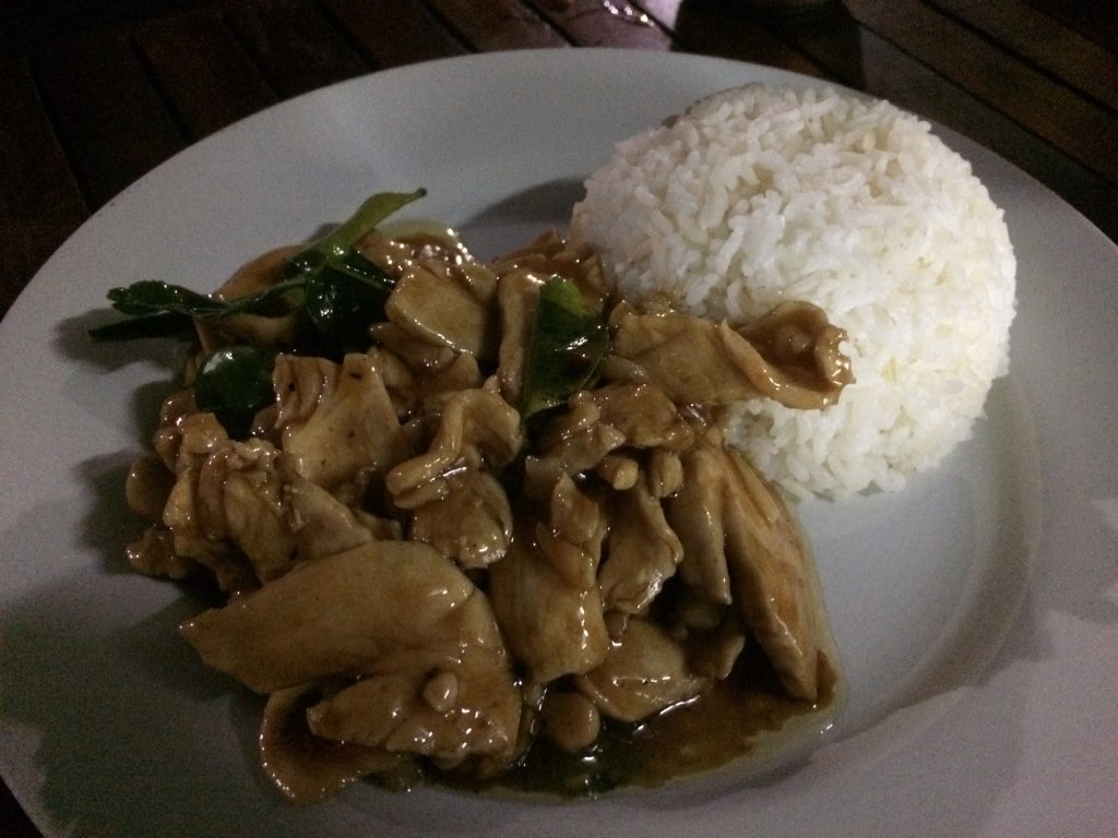 Garlic chicken with rice ($2.50 USD)