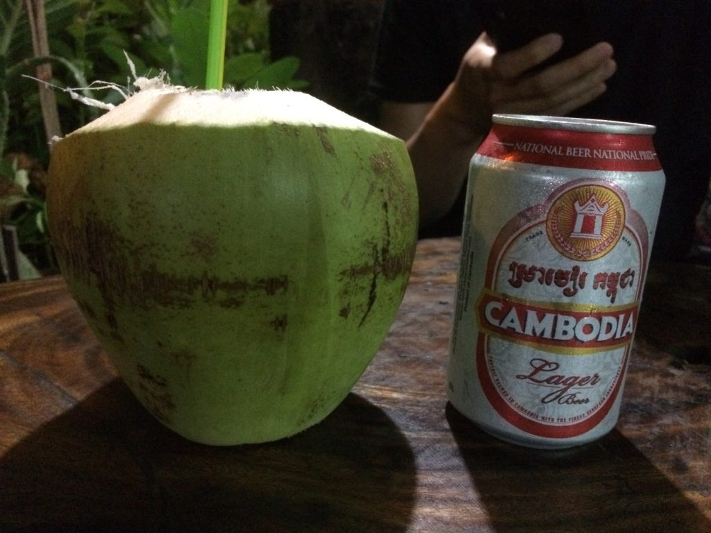 Coconut ($0.75 USD) and Cambodia Beer ($0.75 USD)