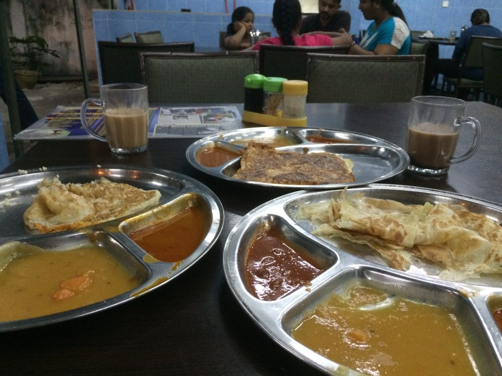 Our garlic roti (2 MYR = $0.65 CAD), Valentine roti (6 MYR = $2 CAD), and plain roti (1.50 MYR = $0.48 CAD)