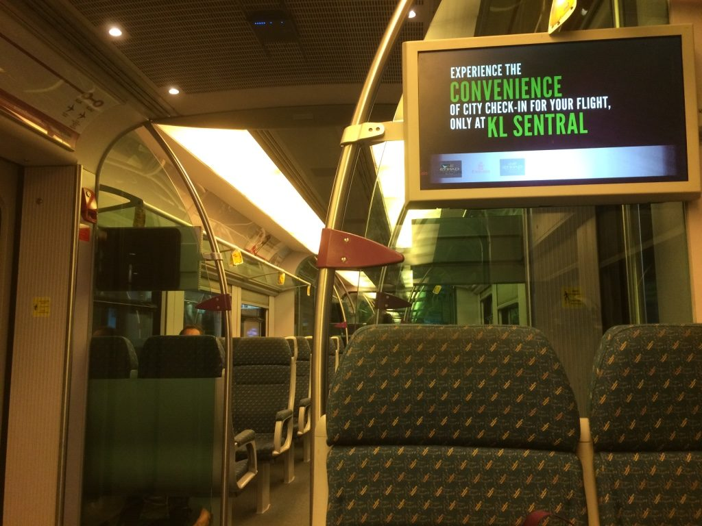 Inside the KLIA Express train. It wasn't very full.
