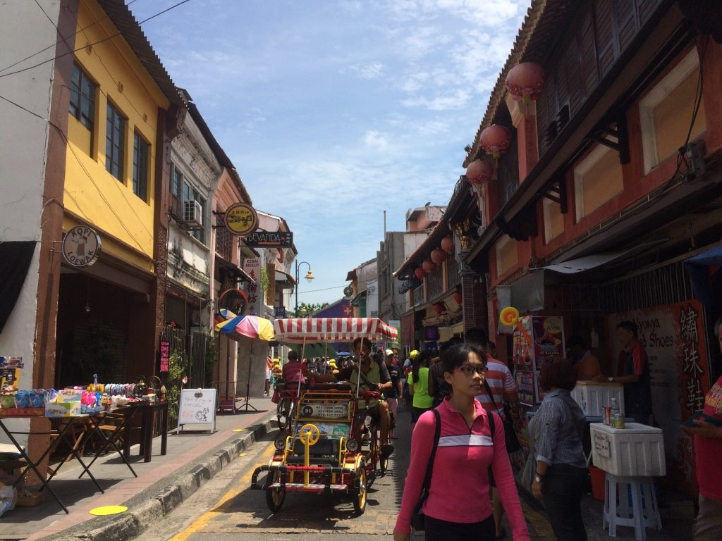 Walking through the busier streets of George Town