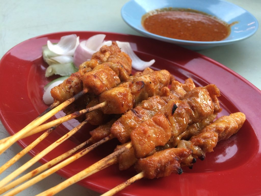 10 chicken satay skewers (10 MYR = $3.25 CAD)