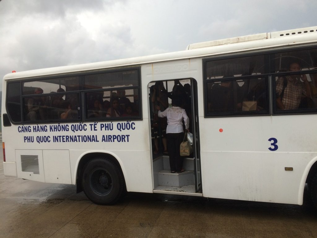 Phu Quoc's airport doesn't have any airport gangways so buses come out to bring you to the terminal