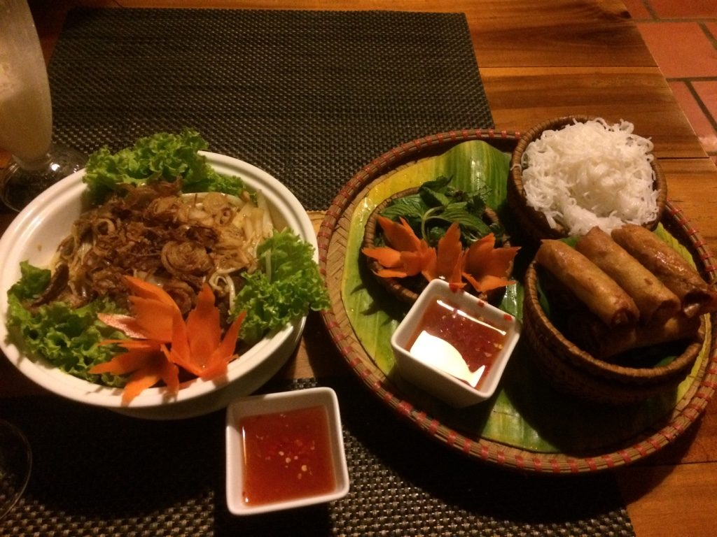 Our vermicelli bowl and spring rolls