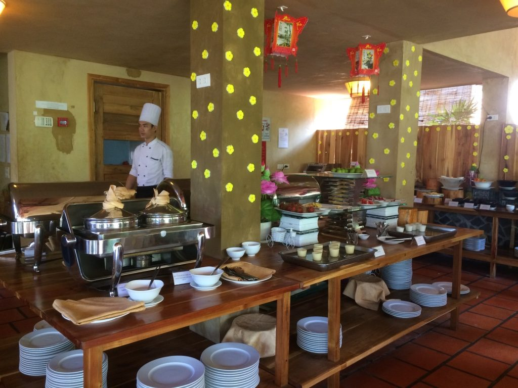 The main breakfast buffet area