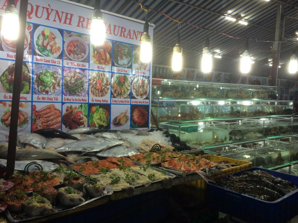 One of many seafood restaurants at the night market