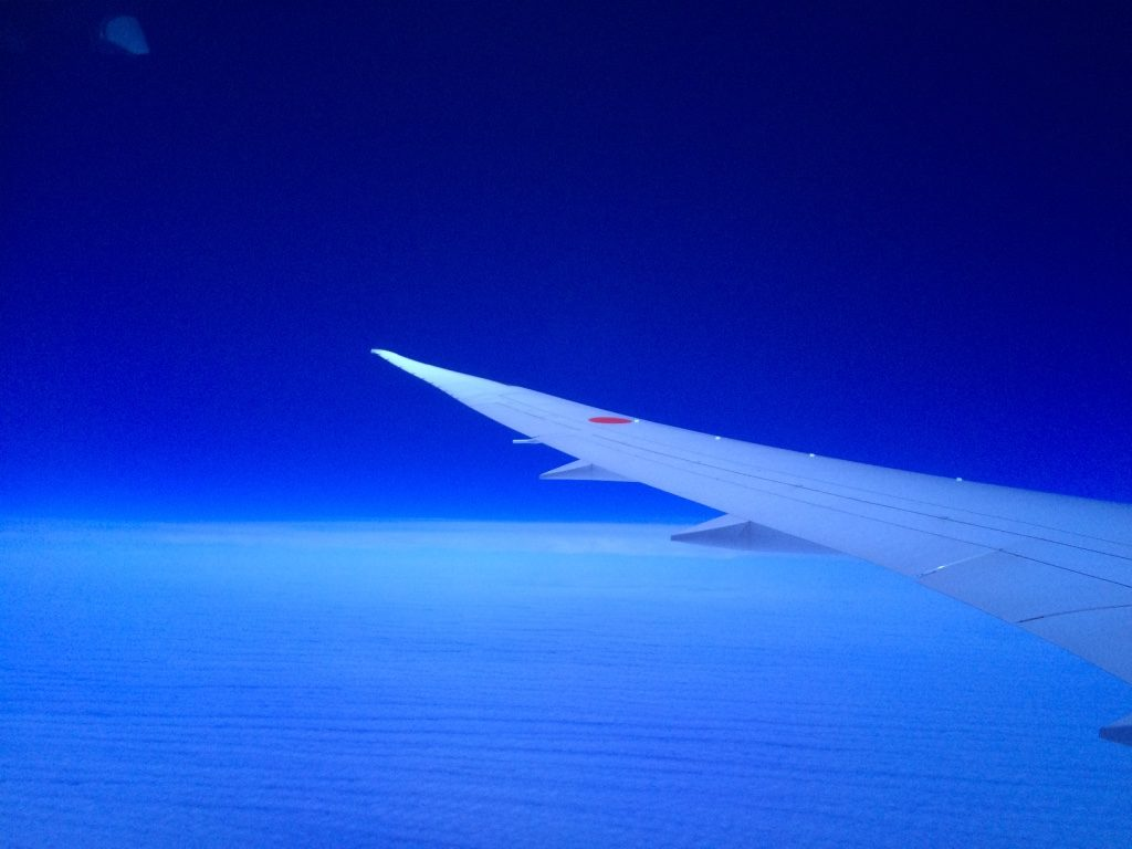 Woke up to see such a vibrant blue. This is somewhere over the Pacific Ocean
